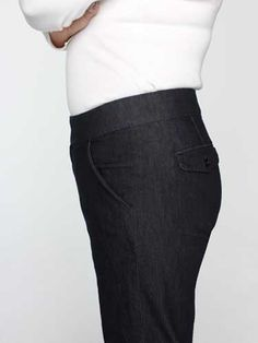 Lee's midrise no gap antonia modern trouser - jean ($54) rated best in Good Housekeeping. Melts 1 to 2 inches from waist and comes in straight legs.