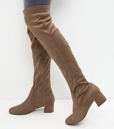 Wide Fit Light Brown Suedette Over The Knee Boots