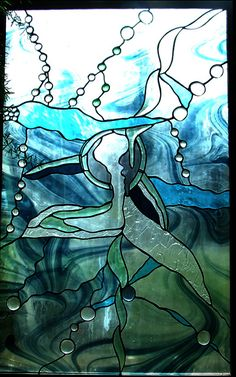 Bevelled Whale and Bubbles - Stained Glass - Flying Monkey Studio