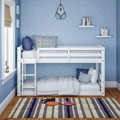 Better Homes & Gardens Tristan Twin Floor Bunk Bed, Multiple finishes Image 1 of 8 Bunk Beds Small Room, Toddler Bunk Beds, Bunk Beds Boys, White Bunk Beds, Bunk Beds With Stairs, Kid Beds, Bed Rooms, Bunk Beds For Toddlers, Bunk Bed Ideas For Small Rooms