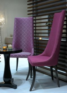 Custom Upholstered High Back Dining Chairs With Low Arms