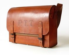 Exceptional Leather Vintage French Messenger Bag , Postman Bag.