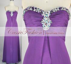 Purple chiffon dress with sweetheart neckline