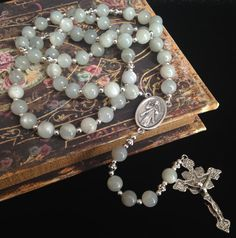 Divine Mercy Rosary with Moonstone beads - by GloriaRosaries