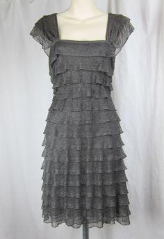 MAX EDITION studio tiered gray metallic dress square neckline silver stretch XL #MaxEdition #StretchBodycon #Cocktail