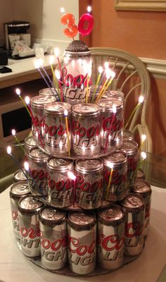 Coors light can cake! Cans, hot glue gun, and foam board!