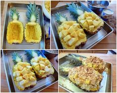 GRATINEED {BAKED} PINEAPPLE ~ Ingredients: ½ C shredded sweetened coconut, ½ C crushed gingersnap cookies, ½ C chopped macadamia nuts, ½ C sweetened condensed milk, 2 Tb dark rum, 1 lg pineapple with leaves intact & cut in half lengthwise