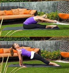 Scoop to Reverse Plank- Sit holding towel with legs extended & together, squeezing through your inner thighs. Scoop your abs into your back as you reach forward, bringing your chest over thighs & press towel out towards toes. Quickly roll back up to your sitting position, release your towel, & place your hands behind you on the ground, fingertips pointed towards your body. Lift hips off the ground into a full reverse plank. Hold for one count, lower hips, pick up towel & repeat. Do 10 reps.