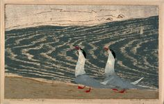 """Two Terns Parading"" color woodcut1955 Elizabeth Olds Born: Minneapolis, Minnesota 1896 Died: Sarasota, Florida 1991 image: 10 1/4"" x 16 5/8"" in collection of the Smithsonian American Art Museum"