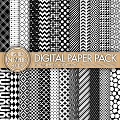 24 Pack Digital Paper  Black and White  by aestheticaddiction, $4.00
