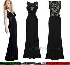 0df92567d406 Abito da sera lungo Maxi vestito cerimonia elegante SEXY nero capodanno  pizzo