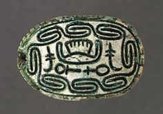 Hyksos Scarab with Foreign King's Name Egypt, 13th - 16th Dynasties (1786 - 1569 B.C.) Sculpture Steatite