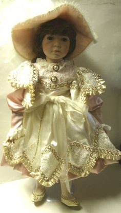 "Victorian Pink Gown Long Eyelashes Elegant Hat Porcelain 27 1 2 ""Tall Doll 
