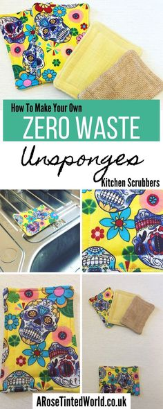 How To Make Unsponges - Zero Waste Dish Scrubbers are a great upcycling way to use fabric scraps & stop using plastic sponges. Here's how to make yours. Easy Sewing Projects, Sewing Projects For Beginners, Diy Projects, Crafts To Sell, Diy And Crafts, Upcycled Crafts, Burlap Kitchen, Reuse Old Clothes, Diy Clothes