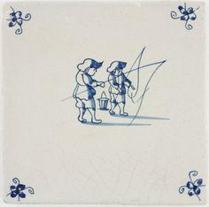 Antique Dutch Delft tile with two men fishing, 17th century