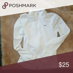 White Nike zip up workout sweatshirt Fleece material inside and holes in arms for thumb Nike  Sweaters