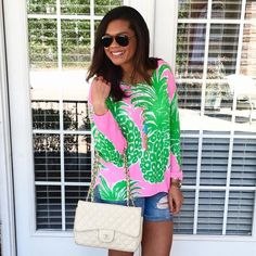 chanel bag✤Lilly Pulitzer pink pout flamenco sweater