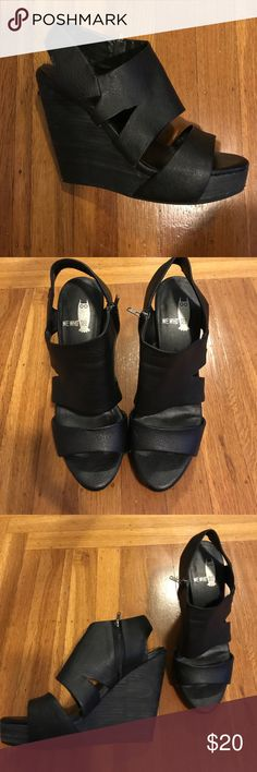 """Black Open Toe Wedge The brand is called """"we who see"""" I believe I purchased these from Urban Outfitters. Gentle use, faux textured leather in good condition no visible damage. Some wear on heel, but nothing major (see pictures) shoes were stored in plastic container when not used. The height is 5"""" Urban Outfitters Shoes Heels"""