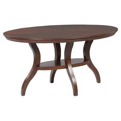 Oval dining table in cherry with a matched top and a cinched pedestal base.   Product: Dining tableConstruction Material:...