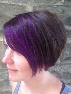 Purple bangs, purple pixie, pixie haircut , brown and purple hair.