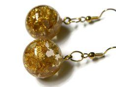Real gold flake resin earrings / Resin ball earrings by Regalities, $31.00