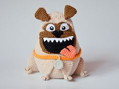 Crochet pug, when finished, is 19 cm (7.4 inches) counting with ears.