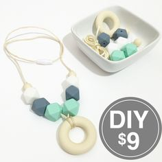 This listing is for one DIY Silicone Teething Necklace Kit. The kit contains six (6) hexagon silicone beads (2 each of mint, white, and gray), one beige silicone donut, and two (2) beige 12mm round be