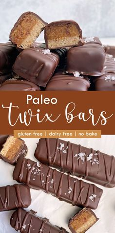 These no bake twix bars are the best alternative to a conventional candy bar. They have a no bake shortbread cookie that's topped with date caramel and covered in dark chocolate. These paleo twix are grain free, dairy free and refined sugar free. #twixbars #twixcandy #paleocandy #vegan #glutenfree Healthy Vegan Desserts, Healthy Dessert Recipes, Gluten Free Desserts, Paleo Vegan, Vegan Recipes, Paleo Chocolate, Chocolate Recipes, Twix Recipe, Homemade Twix Bars