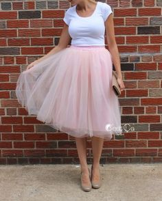 80ac5a5d822 Claire Blush Pink Soft Tulle Skirt - Below Knee Midi