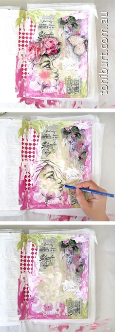 Original pinner sez: The artistic progress of mixed media art. This piece from my art journal showing the progression. Art journaling.