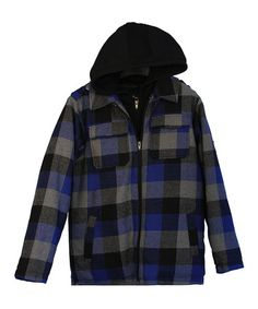 Blue & Black Plaid Hooded Jacket - Boys by iXtreme #zulily #zulilyfinds