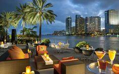 The Waterfront Terrace At Cafe Sambal at the Mandarin Oriental Hotel, 500 Brickell Key Drive - Miami, FL South Beach Miami, South Florida, Miami Florida, Miami Beach Bars, South Beach Bars, North Beach, Florida Gators, Miami Restaurants, Miami Nightlife