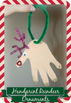 Handprint Reindeer Ornaments - An adorable holiday craft to do with the kids that takes just minutes to make, but you will treasure for a lifetime.
