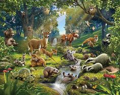 Immerse yourself into a teeming forest filled with all your favorite animals! This larger than life mural makes your walls come alive. Bring the beauty of the forest indoors with this fabulous wall art. Comes on twelve 48-in x 20-in sheets and includes a total of 12 pieces. This mural assembles to 8ft x 10ft. - This mural assembles to 8ft x 10ft - Contains 12 panels - Paste not included - Printed on Vinyl Coated Paper