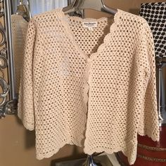 Norm Thompson sweater The right amount of coverage, this natural color cotton- linen blend has an open weave and one button. The perfect accessory for your sleeveless summer dresses! Norm Thompson Sweaters Cardigans