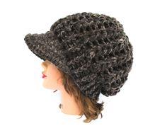 Crochet Newsboy Hat - Coffee Cap - Brimmed Beanie - Puff Stitch Cap - Women's Hat With Brim - Visor Beanie - Crochet Accessories by BettyMarieJones on Etsy
