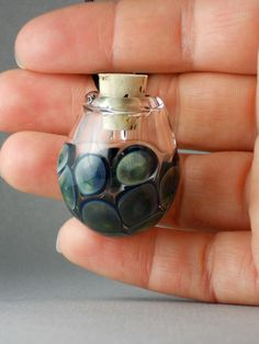 Blue & Green Spotted Vessel / Bottle / Vial Lampwork Pendant Necklace (Boro / Borosilicate Glass) - Essential Oil, Perfume, Potion Z212 by VisionaryInceptions on Etsy