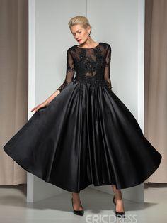 3/4 Long Sleeve Appliques Asymmetrical Length Evening Dress