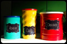 latas de leche Tin Can Alley, Diy And Crafts, Arts And Crafts, Paint Chips, Coffee Cans, Mason Jars, Projects To Try, Homemade, Crafty