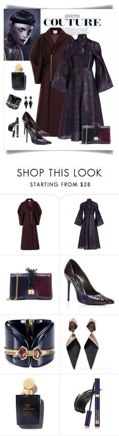 """Delpozo Metallic Blue & Purple Wrap Dress"" by romaboots-1 ❤ liked on Polyvore featuring Delpozo, Marc Jacobs, Stuart Weitzman, Alexis Bittar and Estée Lauder"