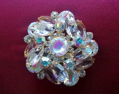 Vintage Snow Chaton Rhinestone Brooch, Clear Ice Navettes and Aurora Borealis, Prong Set