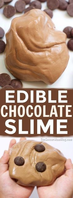 An easy edible chocolate slime recipe that smells just like your favorite decadent desserts! Only 3 simple ingredients for hours of sensory play! #ad