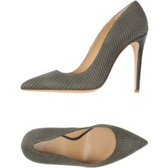 Armani Collezioni Court ($165) ❤ liked on Polyvore featuring shoes, pumps, heels, tacones, military green, stiletto pumps, olive green pumps, stiletto heel shoes, olive green shoes and stilettos shoes