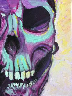 """Original Acrylic Skull Painting """"Ghoulish"""" Semi-Abstract Colorful Frederick Maryland Artist Home Decor Modern Art Southern Gothic Art"""