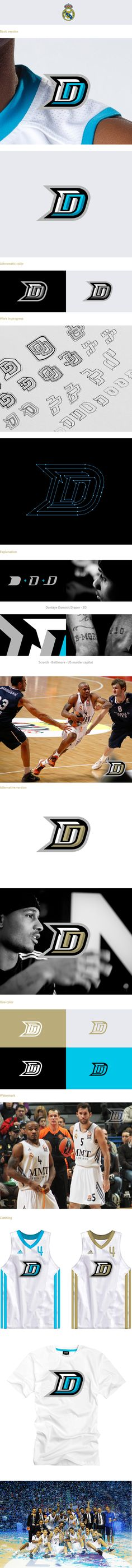 Dontaye Draper - Real Madrid by Kamil Doliwa, via Behance Logo Branding, Branding Design, Sports Team Logos, Sports Marketing, E Sport, Sports Graphics, Logo Design Inspiration, Design Ideas, Typography Poster