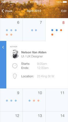 Ios calender event sml Calender Ui, Calendar Ideas, Calendar Design, Event Calendar, Mobile App Design, Mobile Ui, Ui Components, Ios Ui, Vs Sport