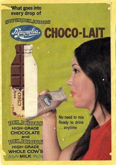Missing the original glass bottles of Magnolia Chocolait. Old Advertisements, Popular People, Raw Materials, Mixed Drinks, Glass Bottles, Magnolia, Milk, Chocolate, 80s Stuff