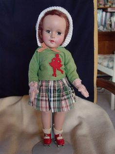 AMERICAN CHARACTER USED HARD PLASTIC SWEET SUE DOLL ROLLER SKATER! CIRCA 1950'S Z