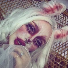 holy bunny shit we're in the nyx face awards top 30 😳 you guys know i would be nothin' without you, right? your support is everyting to… Creepy Makeup, Edgy Makeup, Sfx Makeup, Costume Makeup, Bunny Halloween Makeup, Bunny Makeup, Halloween Looks, Horror Make-up, Face Awards