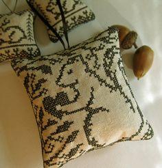 Blackwork Squirrel Primitive Christmas Ornament by CherieWheeler, $9.00